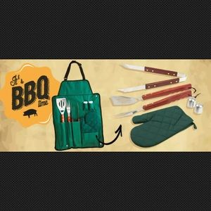 BBQ APRON AND 6 UTENSILS BARBACUE SET BY UNWIDE